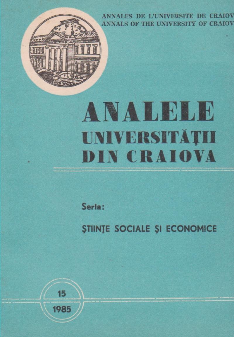 Analele Universitatii din Craiova Seria: Stiinte Sociale si Economice, Nr. 16/1985