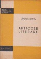 Articole literare - George Baritiu