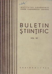 Buletin Stiintific, Volumul al VII-lea - Institutul Agronomic Tudor Vladimirescu Craiova