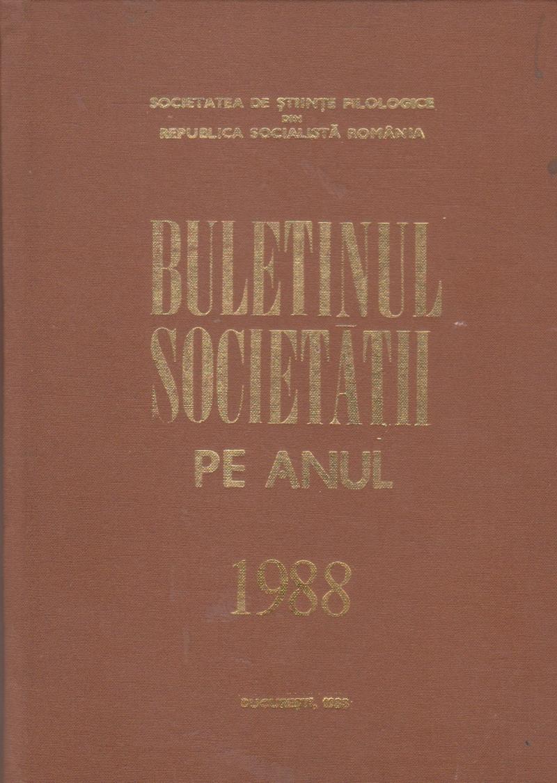 Buletinul Societatii pe anul 1988