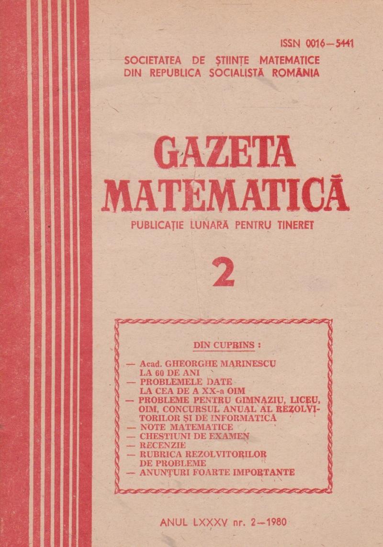 Gazeta Matematica, 2/1980