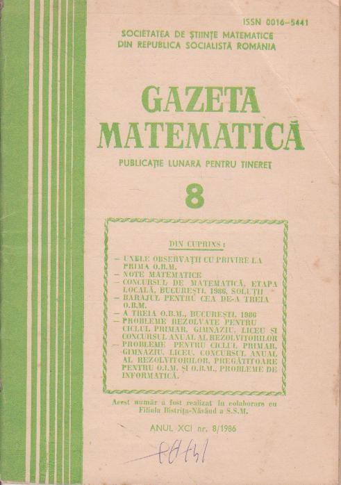 Gazeta matematica,  August 1986