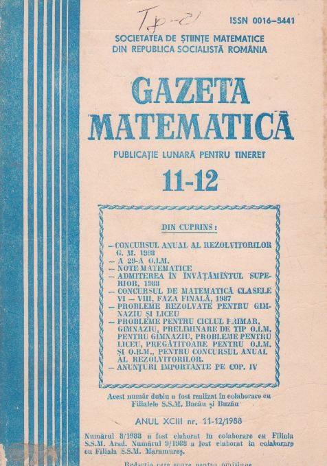Gazeta matematica,  Noiembrie-Decembrie 1988