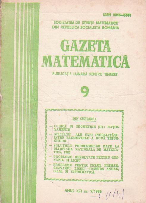 Gazeta matematica,  Septembrie 1986