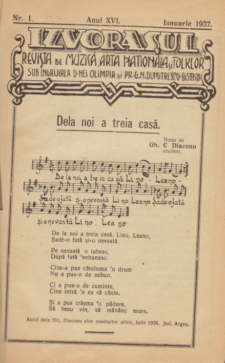 Izvorasul - Revista de muzica, arta nationala si folclor (Ianuarie 1937 - Decembrie 1938)