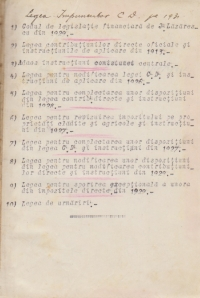 Legi de contributiuni directe (1913-1931) - Set 11 legi din perioada interbelica