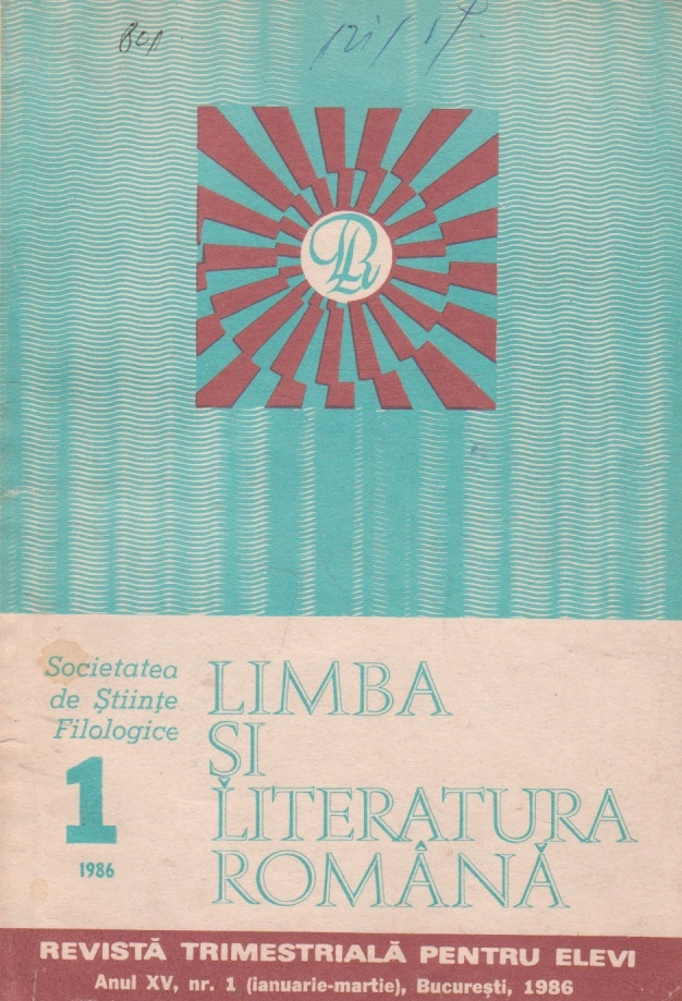 Limba si literatura romana, Nr. 1/1986 - Revista trimestriala pentru elevi