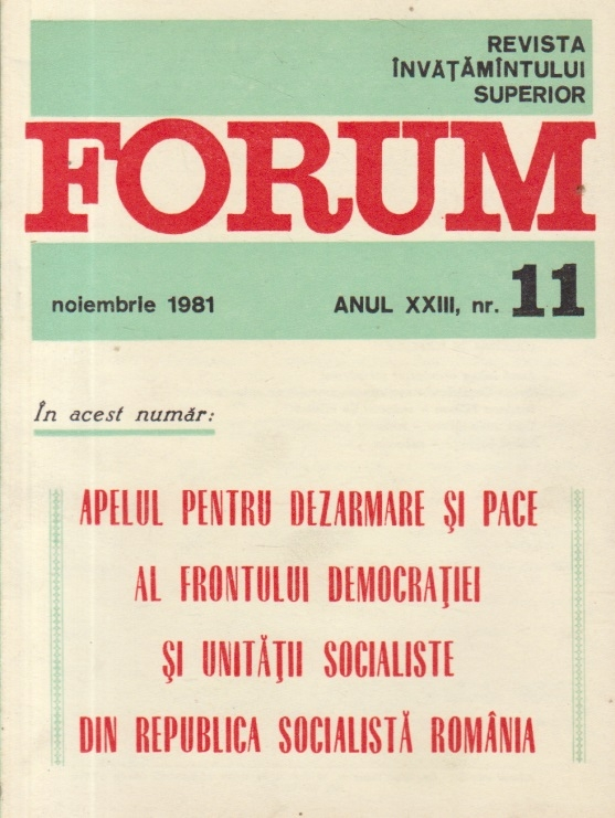 Revista Invatamintului Superior - Forum, Nr. 11/1981