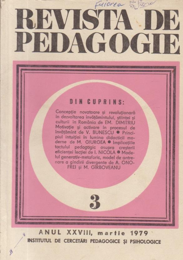 Revista de Pedagogie, Anul XXVIII, Martie 1979