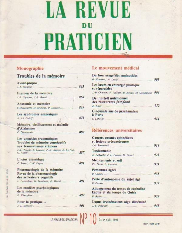 La revue du praticien, No 10, 1 Avril 1991
