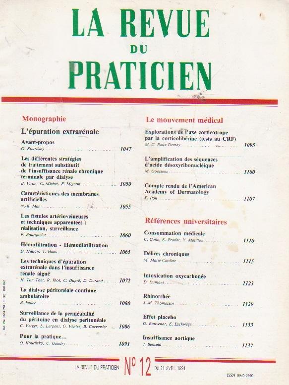 La revue du praticien, No 12, 21 Avril 1991
