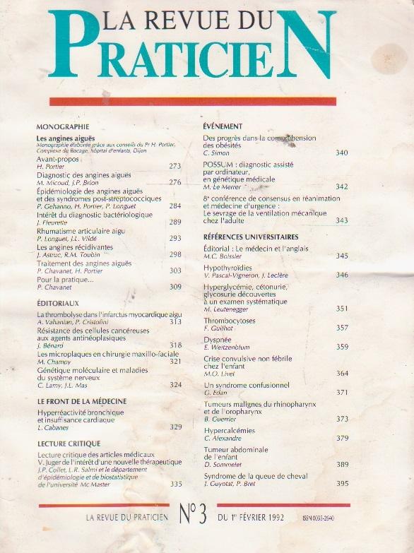 La revue du praticien, No 3, 1 Fevrier 1992