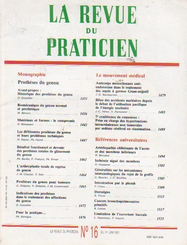 La revue du praticien, No 16, 1 Juin 1991