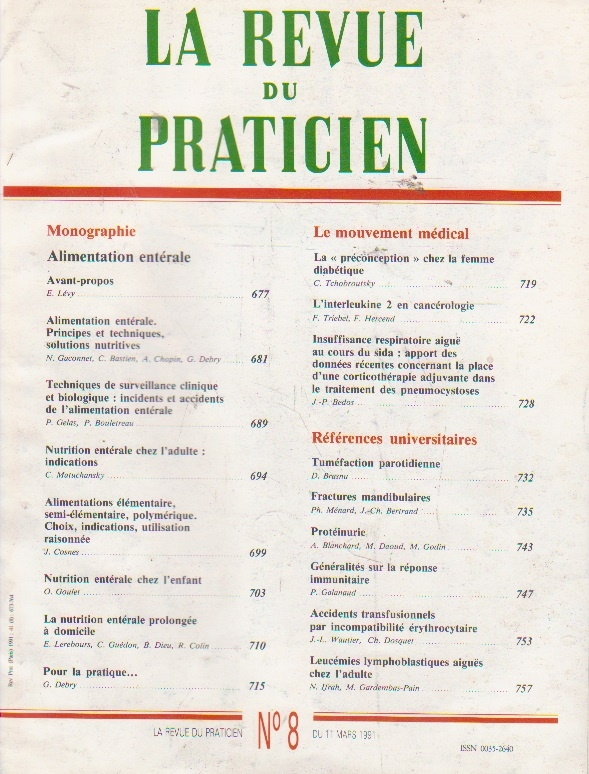 La revue du praticien, No 8, 11 Mars 1991
