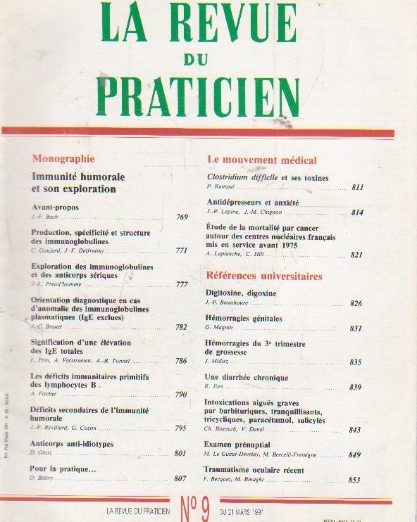 La revue du praticien, No 9, 21 Mars 1991