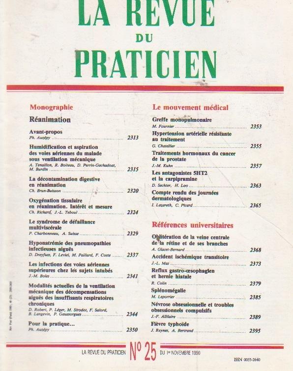 La revue du praticien, No 25, 1 Novembre 1990