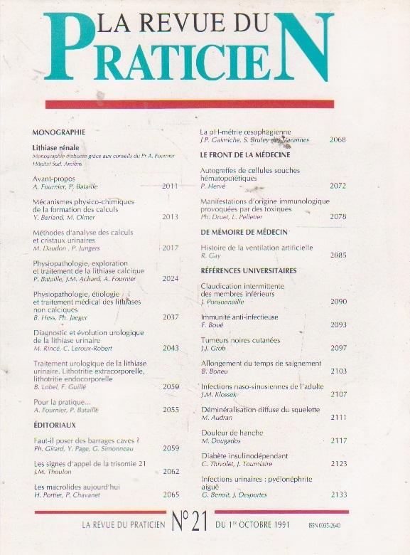 La revue du praticien, No 21, 1 Octobre 1991
