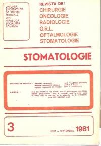 Stomatologia - Revista a societatii de stomatologie, Iulie-Septembrie 1981