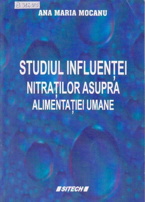 Studiul influentei nitratilor asupra alimentatiei umane
